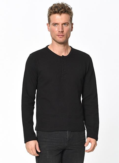Lee Cooper Yakası Düğmeli Sweatshirt Siyah